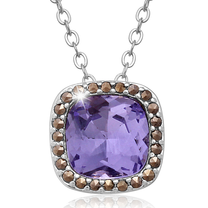 4 Carat Cushion Cut Crystal Tanzanite & Marcasite Necklace, 18 In