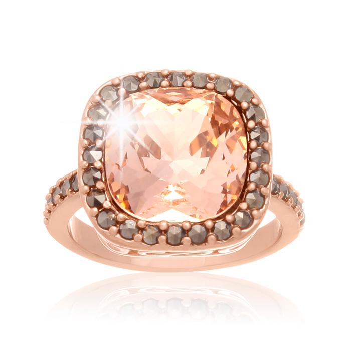 4 Carat Cushion Cut Crystal Morganite & Marcasite Ring, Rose Gold