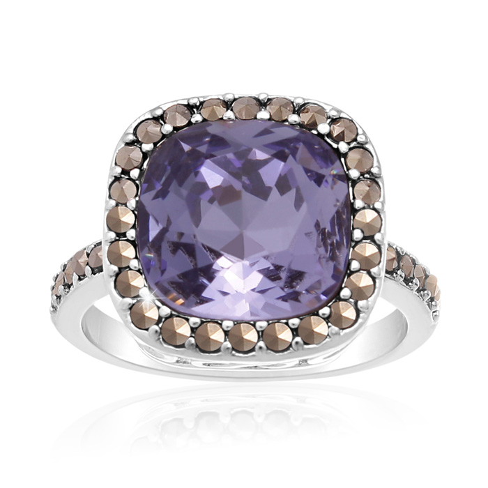 4ct Crystal Tanzanite and Marcasite Ring