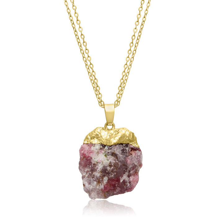 30 Carat Natural Multicolored Agate Necklace in 18K Gold Overlay, 17 Inches by SuperJeweler