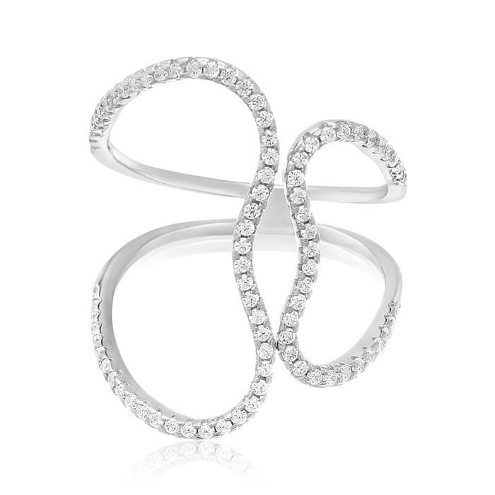 Sterling Silver Cubic Zirconia Open Heart Ring by SuperJeweler