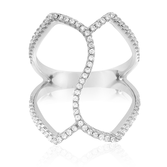 Sterling Silver Cubic Zirconia Spatial Ring by SuperJeweler