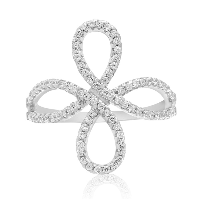 Sterling Silver Cubic Zirconia Filigree Love Knot Ring, Size 5 by