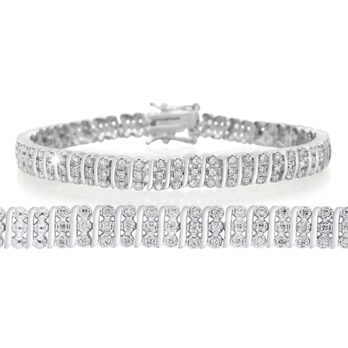 1ct Three Row Diamond Bracelet. Bold Three-Row