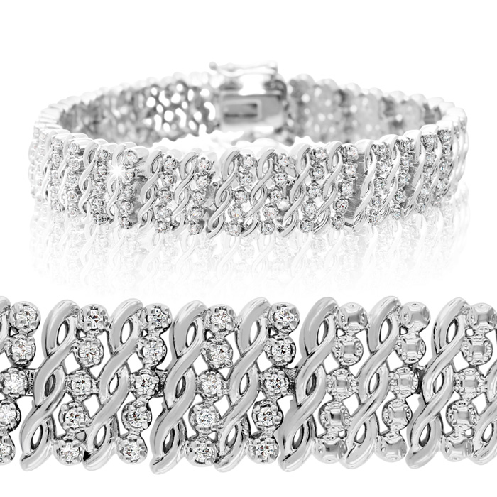 Massive Sizzling 1ct Five Row Diamond Bracelet. Crowd Pleaser! 16441