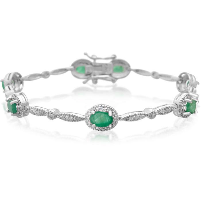 3 1/2ct Emerald and Diamond Bracelet