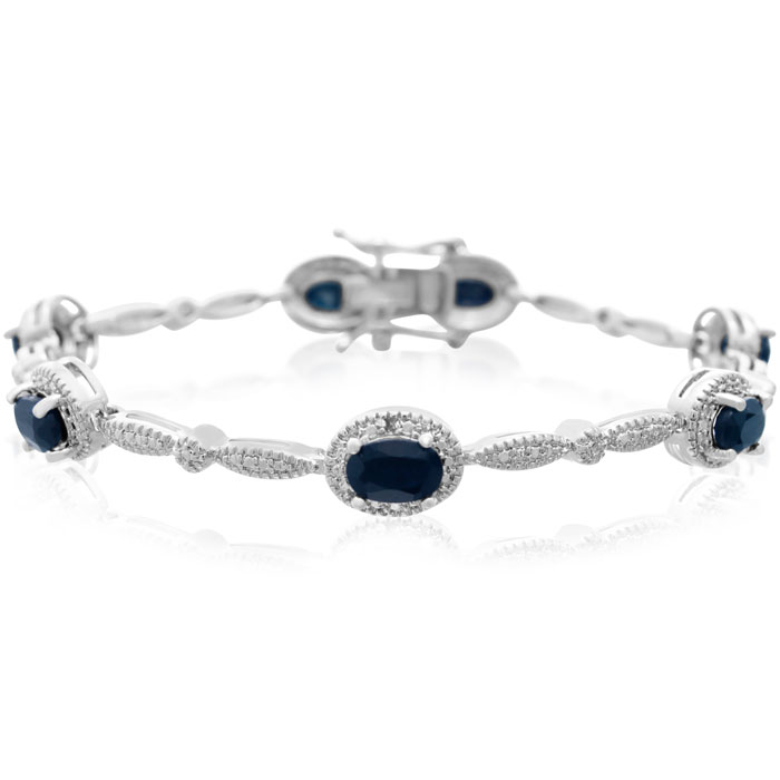 4 1/2 Carat Sapphire & Diamond Bracelet, Platinum Overlay, 7 Inch
