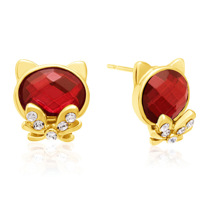 Swarovski Elements Ruby Cat Stud Earrings, Gold Overlay, Pushback