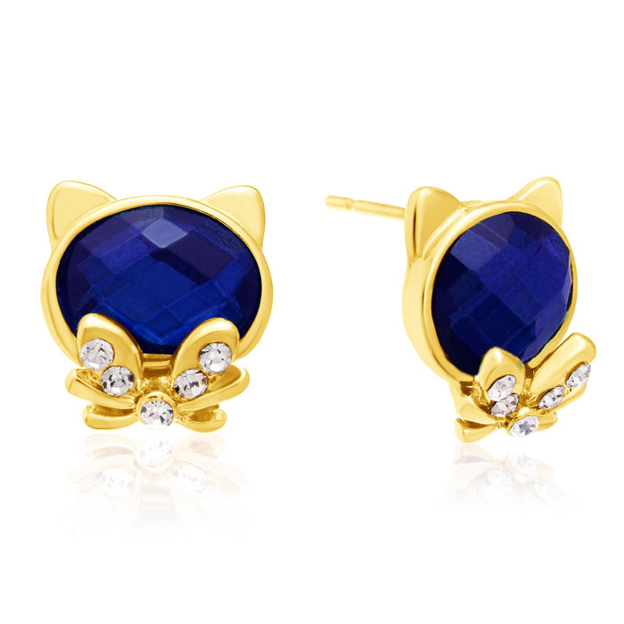 Swarovski Elements Blue Sapphire Cat Stud Earrings, Gold Overlay, Pushbacks by SuperJeweler