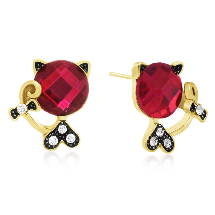 Swarovski Elements Pink Sapphire Sassy Cat Stud Earrings, Gold Ov