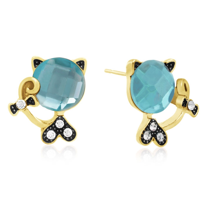 Swarovski Elements Aquamarine Sassy Cat Stud Earrings, Gold Overl