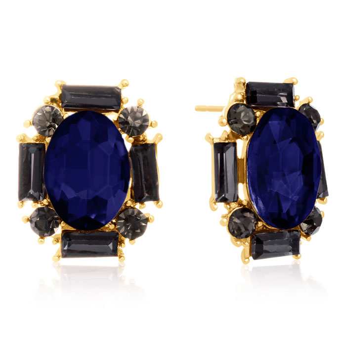 Swarovski Elements Blue Sapphire & Black Onyx Stud Earrings, Gold