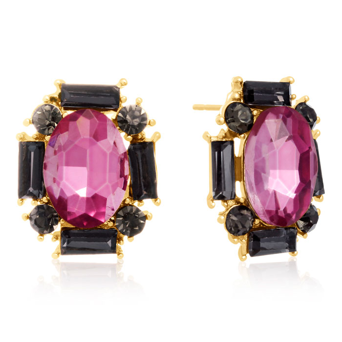 Swarovski Elements Pink Topaz & Black Onyx Stud Earrings, Gold Ov