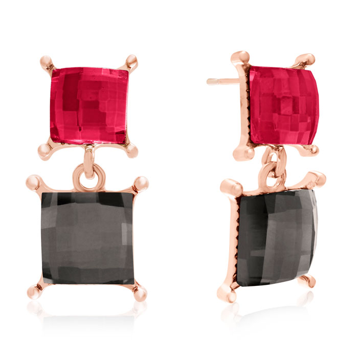 Marsala & Slate Swarovski Elements Dangle Earrings, Gold Overlay,