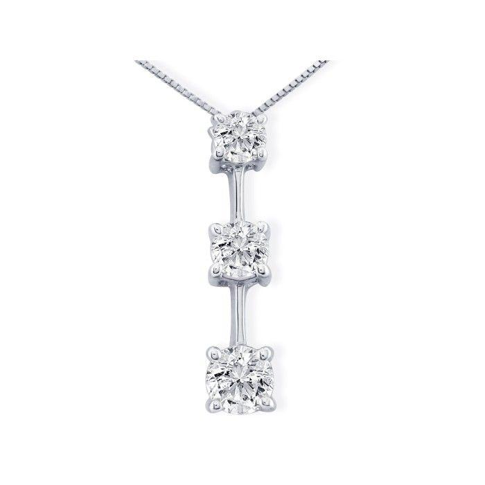 Impressive 1.5 Carat Fine Three Diamond Pendant Necklace in 14k W
