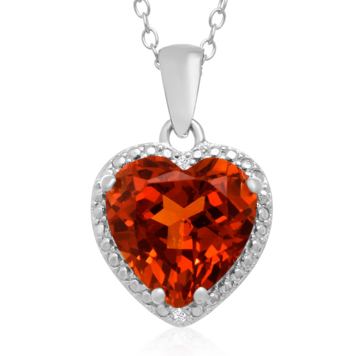 5 Carat Created Orange Sapphire & Diamond Heart Necklace in Sterl
