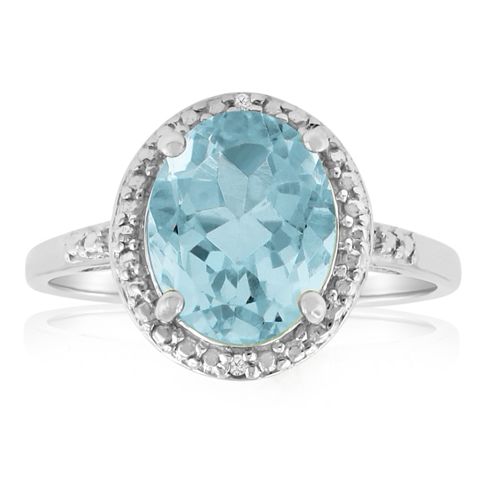 3 Carat Oval Shape Blue Topaz & Diamond Ring, Platinum Overlay, J