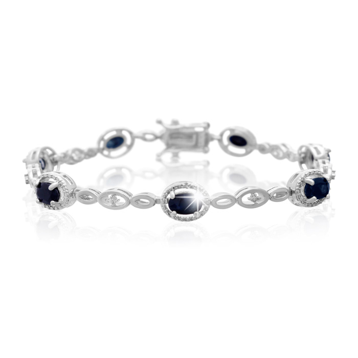 4 1/2 Carat Oval Shape Sapphire & Halo Diamond Bracelet, Platinum Overlay, 7 Inches, J/K by SuperJeweler
