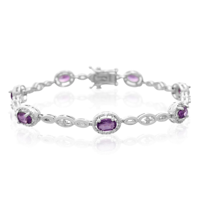 3 Carat Oval Shape Amethyst & Halo Diamond Bracelet, Platinum Overlay, 7 Inches, J/K by SuperJeweler