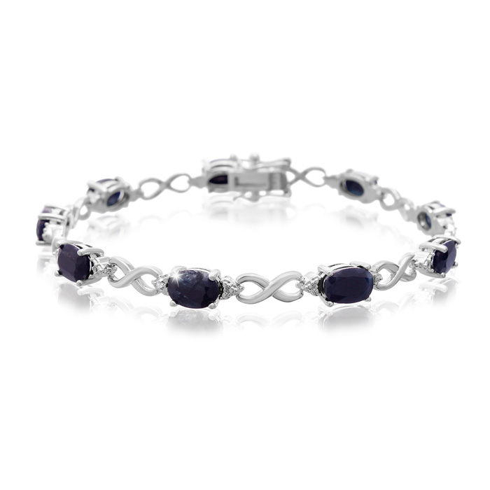 9 Carat Sapphire & Diamond Bracelet, Platinum Overlay, 7 Inches,
