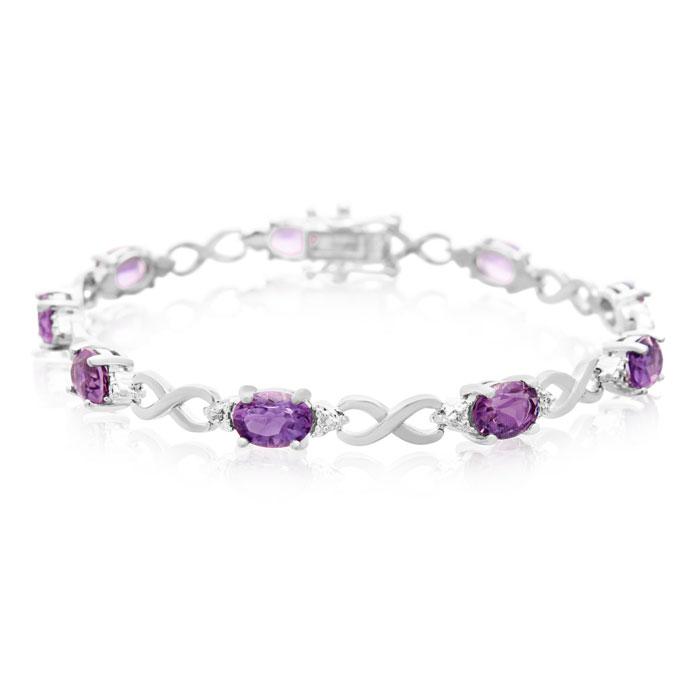 Amethyst Bracelet February Birthstone 7ct And Diamond