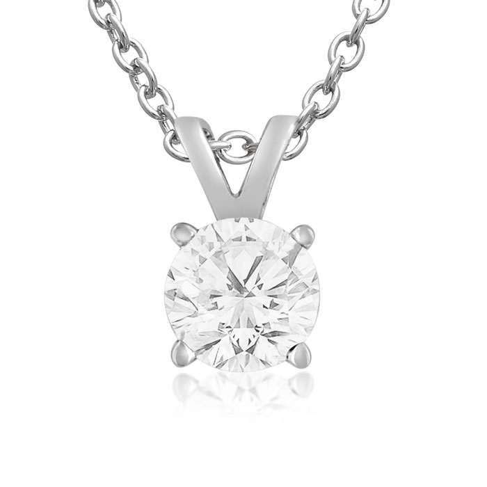 3/4 Carat 14k White Gold (1 Gram) Diamond Pendant Necklace, J/K,