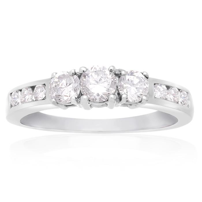 1/2 Carat Engagement Three Diamond Ring In White Gold