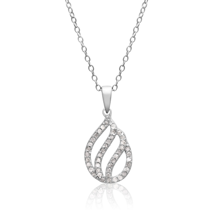 1/4 Carat Diamond Teardrop Necklace in Sterling Silver, 18 Inches
