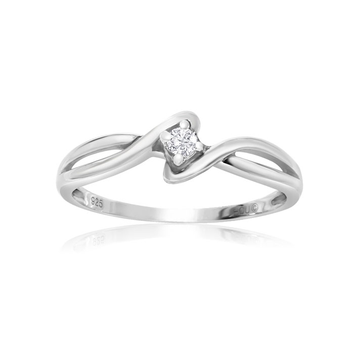 1/10 Carat Twist Diamond Promise Ring in Sterling Silver, H/I, Si