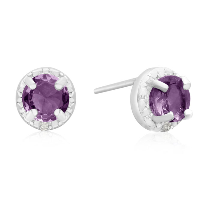 3/4 Carat Amethyst & Halo Diamond Stud Earrings in Sterling Silve