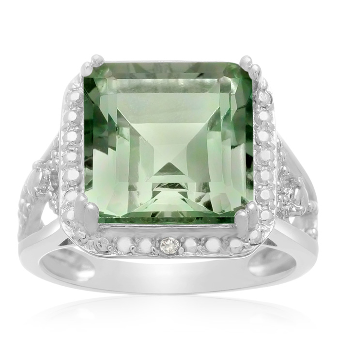 5 Carat Princess Cut Green Amethyst & Halo Diamond Ring in Sterli