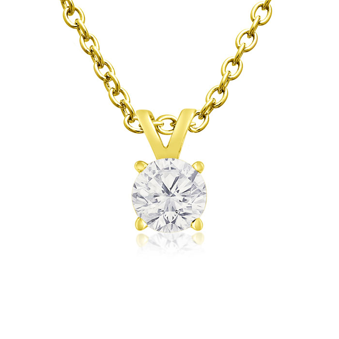 1/4 Carat 14k Yellow Gold Diamond Pendant Necklace, K/L, 18 Inch