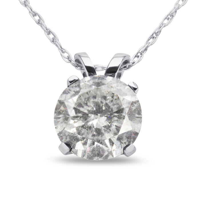 1.5 Carat Diamond Pendant Necklace in 14k White Gold (2 Grams), C