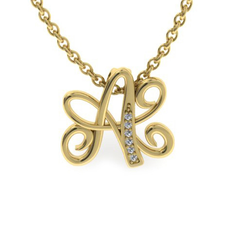 A Initial Necklace in Yellow Gold (2.2 g) w/ 6 Diamonds, I/J, 18