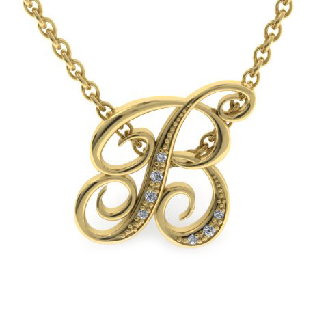 B Initial Necklace in Yellow Gold (2.2 g) w/ 7 Diamonds, I/J, 18
