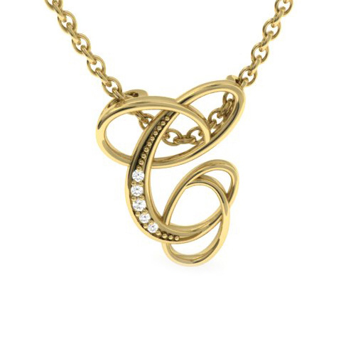 C Initial Necklace in Yellow Gold (2.2 g) w/ 5 Diamonds, I/J, 18 Inch Chain by SuperJeweler