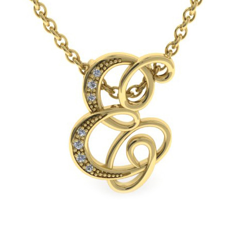 E Initial Necklace in Yellow Gold (2.2 g) w/ 7 Diamonds, I/J, 18