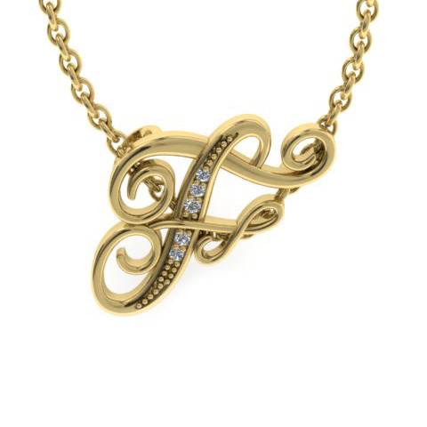 F Initial Necklace in Yellow Gold (2.2 g) w/ 5 Diamonds, I/J, 18