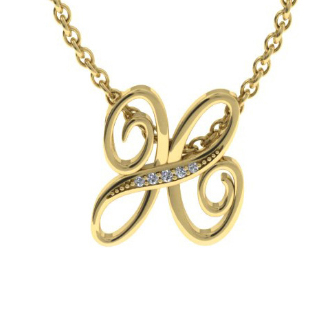 H Initial Necklace in Yellow Gold (2.2 g) w/ 5 Diamonds, I/J, 18