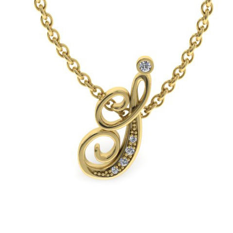 I Initial Necklace in Yellow Gold (2.2 g) w/ 5 Diamonds, I/J, 18