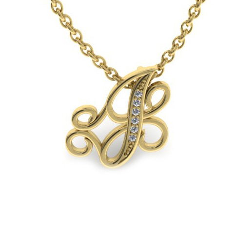 J Initial Necklace in Yellow Gold (2.2 g) w/ 6 Diamonds, I/J, 18 Inch Chain by SuperJeweler