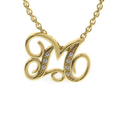 M Initial Necklace in Yellow Gold (2.2 g) w/ 7 Diamonds, I/J, 18 Inch Chain by SuperJeweler