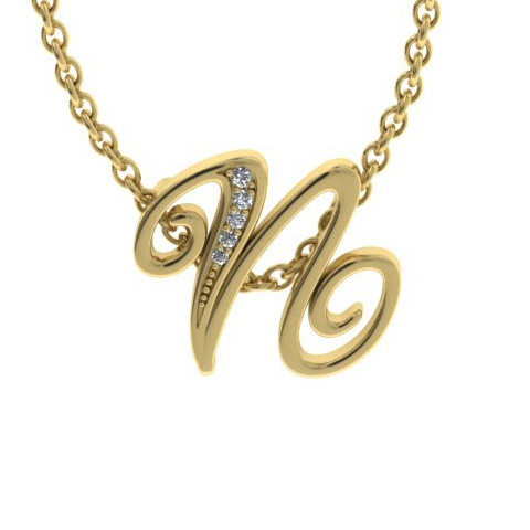 N Initial Necklace in Yellow Gold (2.2 g) w/ 5 Diamonds, I/J, 18