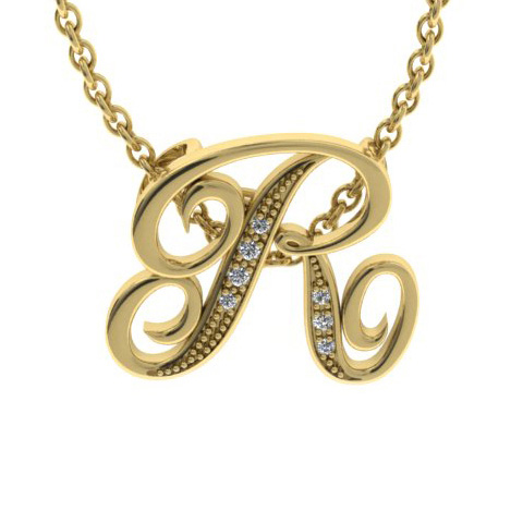 R Initial Necklace in Yellow Gold (2.2 g) w/ 7 Diamonds, I/J, 18 Inch Chain by SuperJeweler