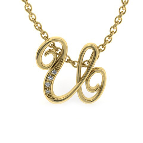 U Initial Necklace in Yellow Gold (2.2 g) w/ 4 Diamonds, I/J, 18