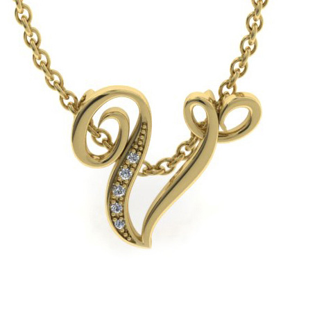 V Initial Necklace in Yellow Gold (2.2 g) w/ 5 Diamonds, I/J, 18