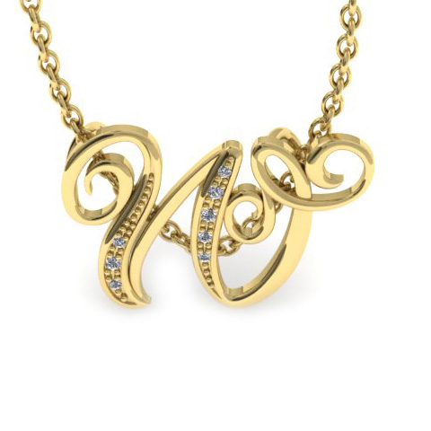 W Initial Necklace in Yellow Gold (2.2 g) w/ 7 Diamonds, I/J, 18 Inch Chain by SuperJeweler
