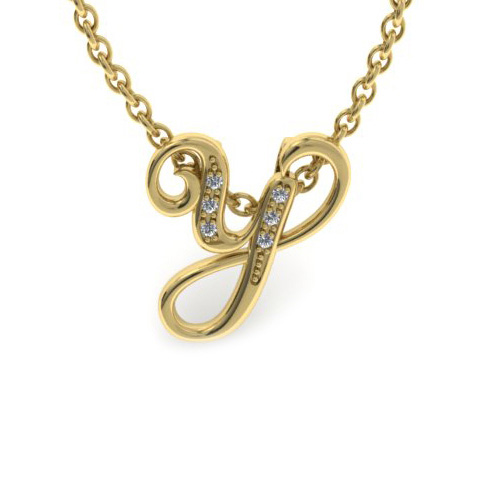 Y Initial Necklace in Yellow Gold (2.2 g) w/ 6 Diamonds, I/J, 18