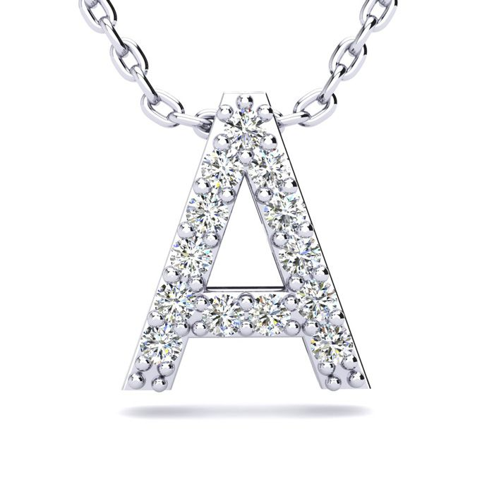 A Initial Necklace in White Gold (2.4 g) w/ 13 Diamonds, H/I, 18 Inch Chain by SuperJeweler