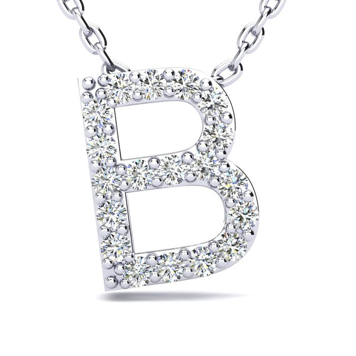 B Initial Necklace in White Gold (2.4 g) w/ 19 Diamonds, H/I, 18 Inch Chain by SuperJeweler